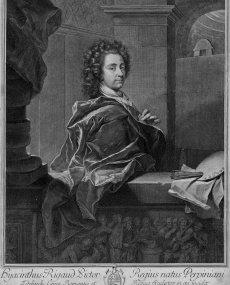 1692 - Autoportrait au manteau rouge  (gravure d'Edelinck, 1698)